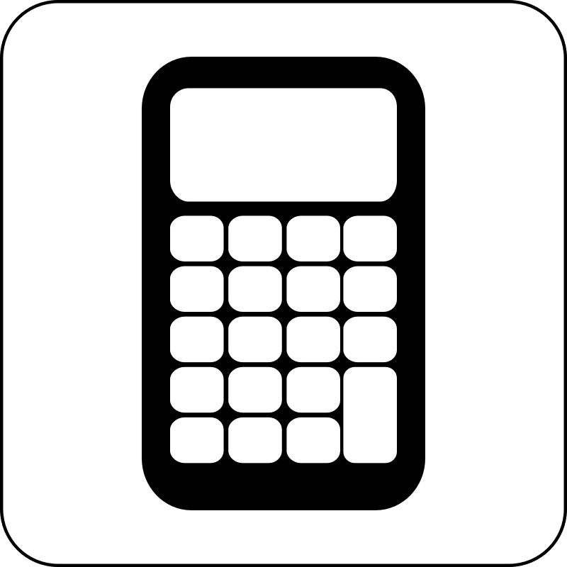 Calculator Icon by cinemacookie - Simple black and white calculator icon. With a round edged box with white fill to create contrast. This icon can be seen in front of any image or backdrop because of it's design.