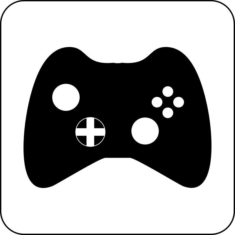 Gaming Icon by cinemacookie - Simple black and white gaming icon. With a round edged box with white fill to create contrast. This icon can be seen in front of any image or backdrop because of it's design.