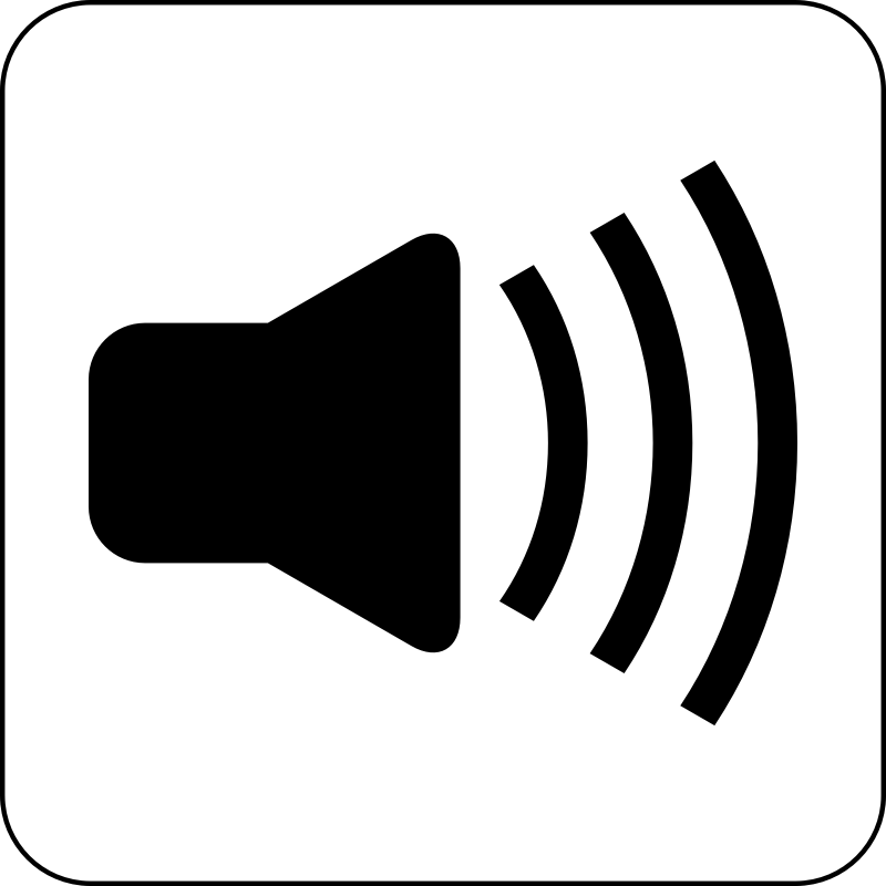 Sound Icon by cinemacookie - Simple black and white sound icon. With a round edged box with white fill to create contrast. This icon can be seen in front of any image or backdrop because of it's design.
