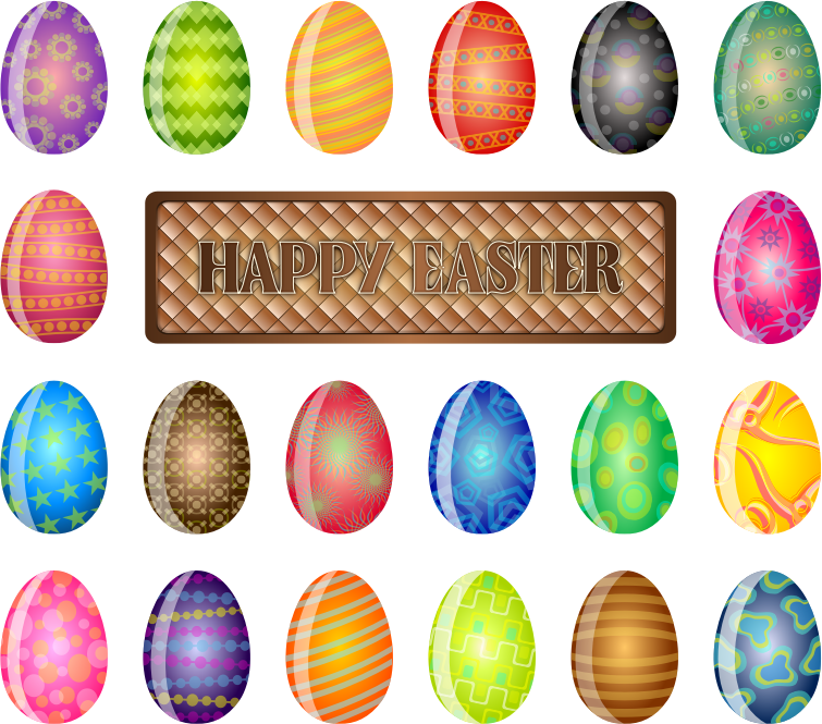 Happy Easter Sign by chad78 - A friendly sign wishing everyone a Happy Easter surrounded by many beautifully decorated and colored Easter Eggs.