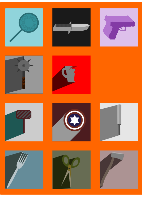 Weapons Long Shadow Icons by logoscambodia - Twelve mostly flat design weapons with long shadows.