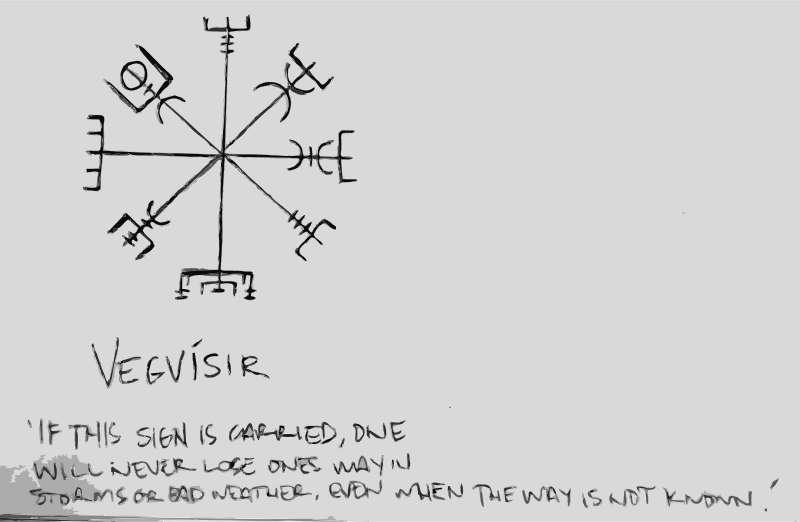 Vegvísir by dnodnodno - A Vegvísir (Icelandic 'sign post') is an Icelandic magical stave intended to help the bearer find their way through rough weather. The symbol is attested in the Huld Manuscript, collected in Iceland by Geir Vigfusson in 1860 (but consisting of material of earlier origin) ísir