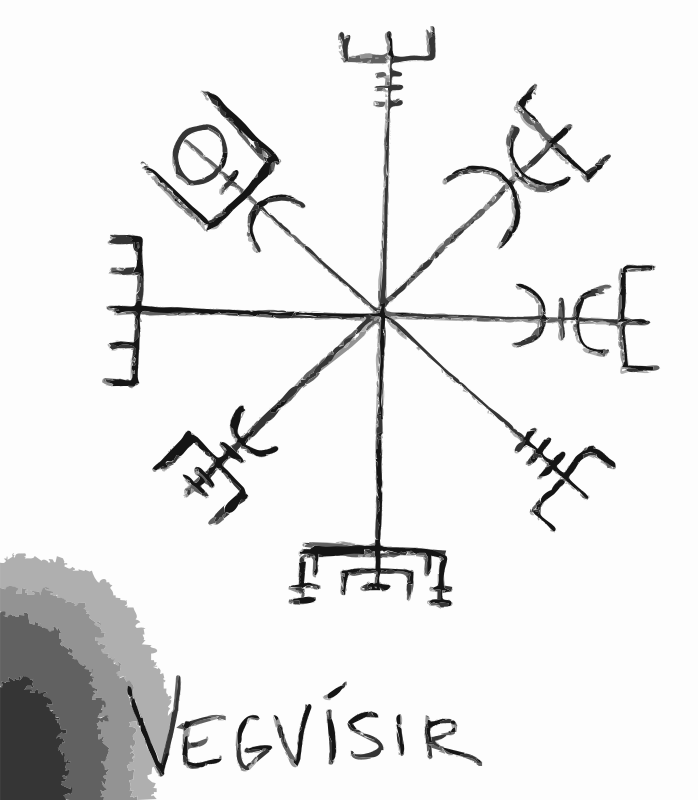 Vegvisir by dnodnodno - A Vegvísir (Icelandic 'sign post') is an Icelandic magical stave intended to help the bearer find their way through rough weather. The symbol is attested in the Huld Manuscript, collected in Iceland by Geir Vigfusson in 1860 (but consisting of material of earlier origin)