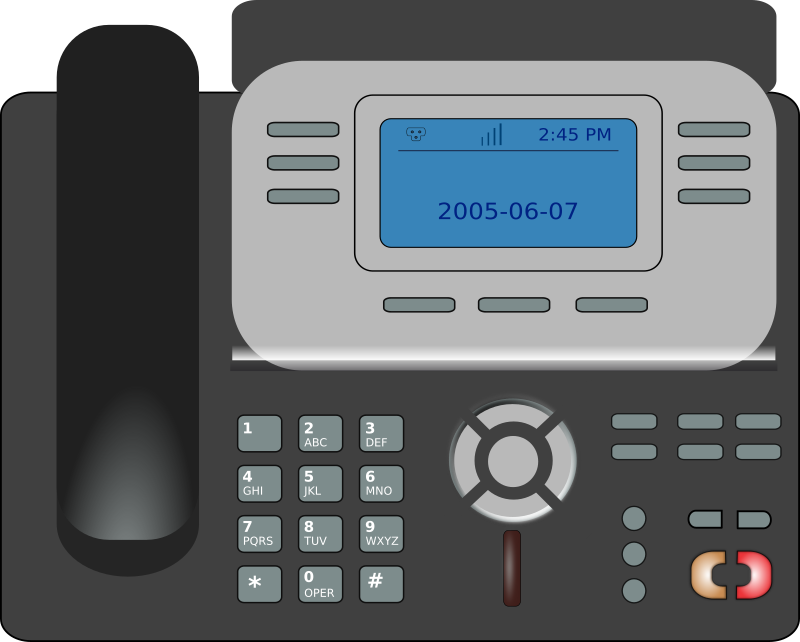 VOIP phone by mark.starikov - Generic brand VIOP phone with display and navigation buttons in the middle of control section