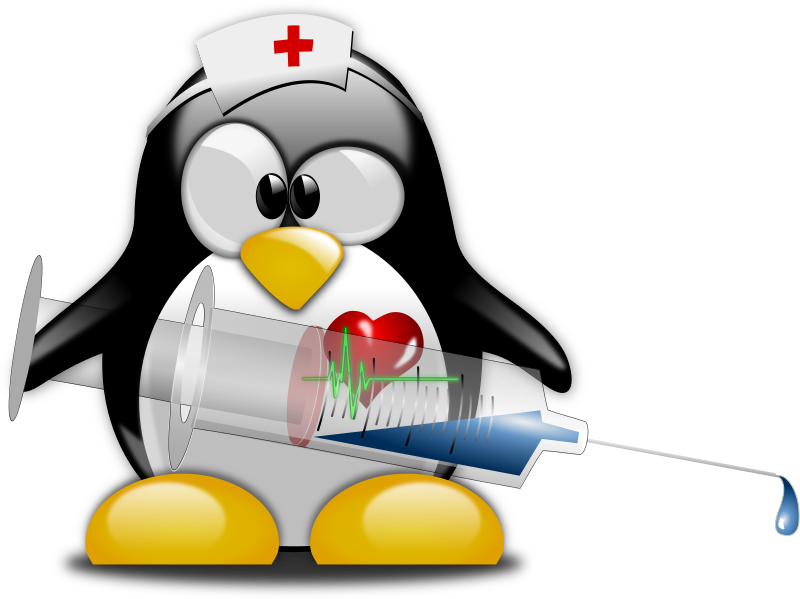 Tux Nurse 1 by Merlin2525 - A nurse (tux) who has the antidote to heal viruses. Thanks go to the following Open Clip Art Artist: openclipart.org/detail/170281/infirmi%C3%83%C2%A8re-by-mathafix, openclipart.org/detail/154117/heart-ecg-logo-by-juliobahar, openclipart.org/detail/169173/base-tux-g2-v1.2-by-zafx. Lincence: Public Domain.