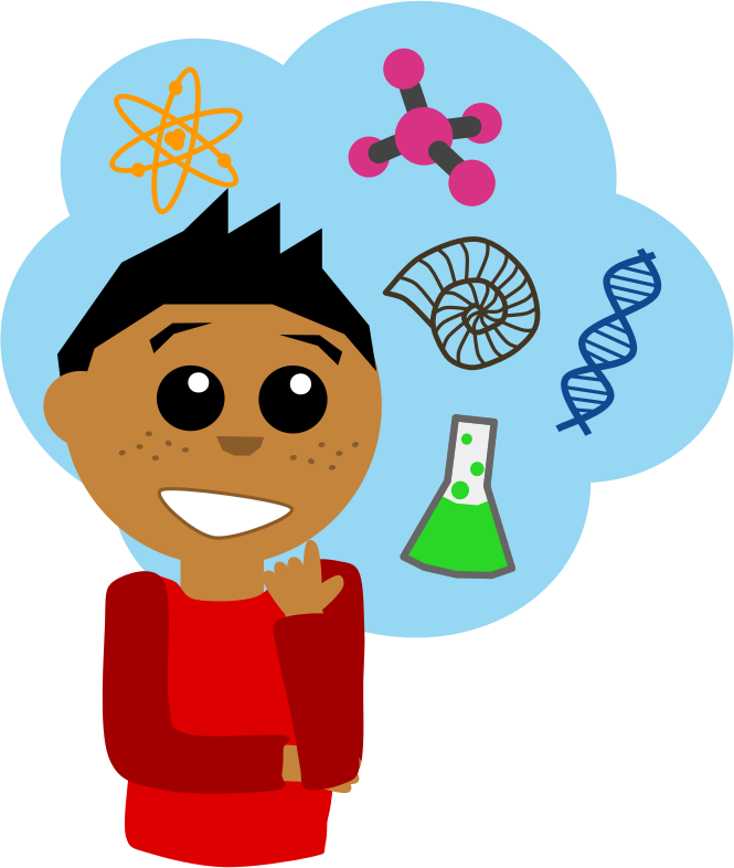 Science Guy by Scout - Boy surrounded with scientific symbols.