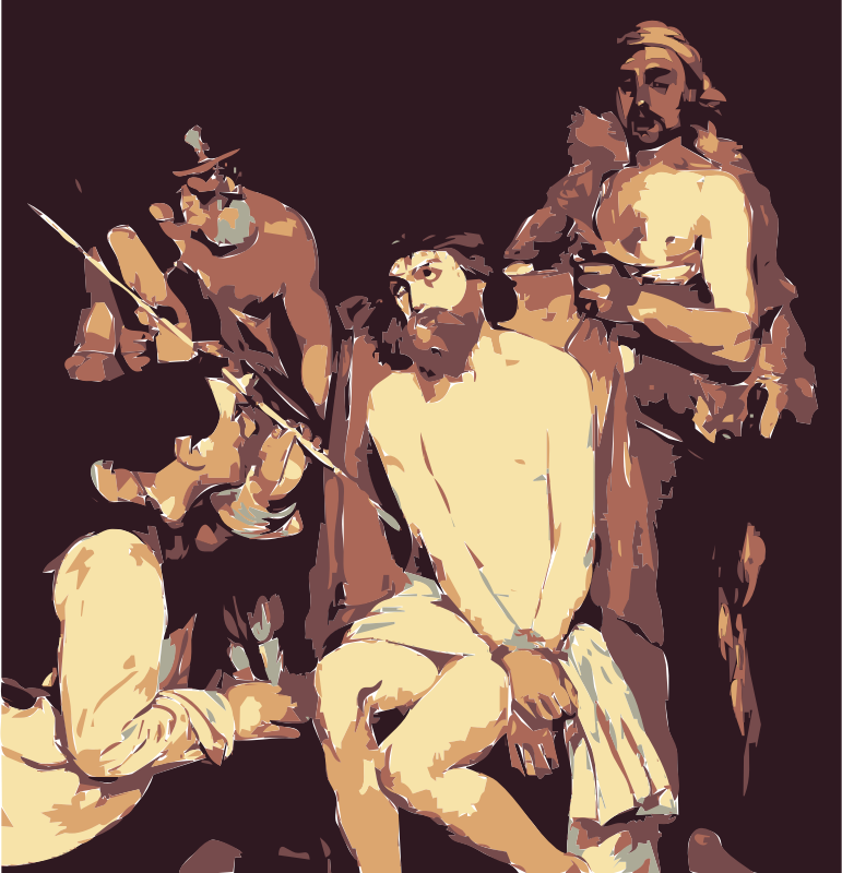 Jesus Mocked by Edouard Manet  Jesus by wanglizhong - This public domain image comes from http://www.greenprophet.com/2014/02/this-is-what-jesus-christs-selfie-would-look-like/ and as of 2014-04-20 03:55:31 is this file, http://www.greenprophet.com/wp-content/uploads/Jesus-Mocked-by-Edouard-Manet1.jpg. .greenprophet.com