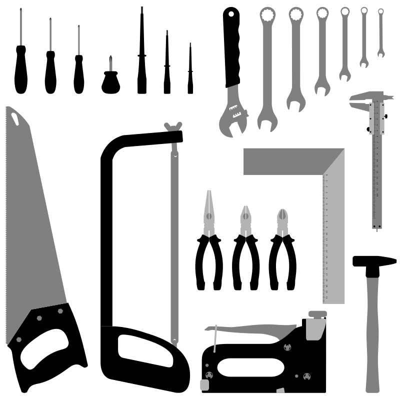 Tools by Keistutis - drawn by hand hammer, angle, wrench, screwdriver, saw, staples, pliers, tools, instruments