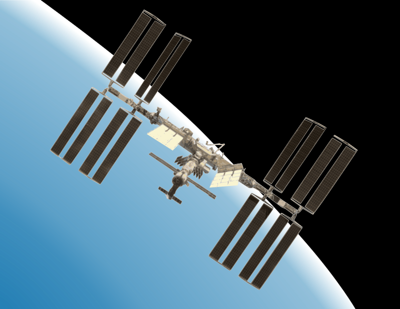 International Space Station with Earth by Rambo Tribble - The International Space Station with a gradient background suggesting Earth.