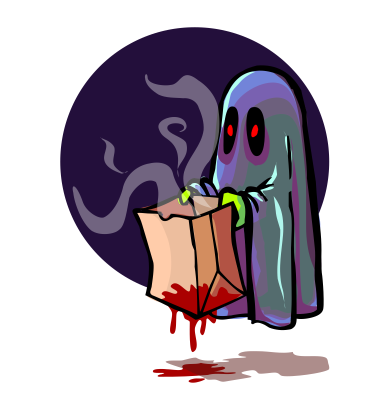 Scary Ghost Trick or Treating by liftarn - Scary Ghost Trick or Treating from http://www.clker.com/clipart-scary-ghost-trick-or-treating.html