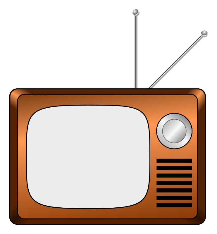 Wooden TV by jhnri4 - A wooden-colored CRT TV resembling a design of the 1970's. The antenna is chrome-colored.