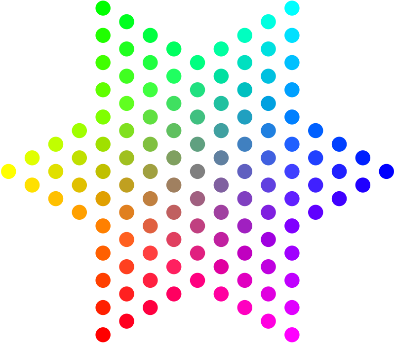 Color Dots Hexagram by mazeo - Grid of dots arranged in a hexagram to demonstrate RGB (red-green-blue) color mixing