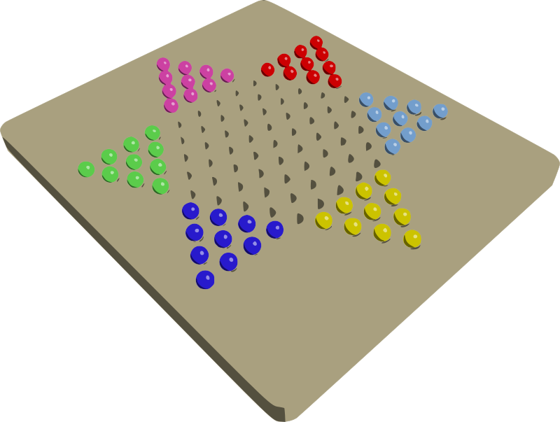 Chinese Checkers by mazeo - Perspective view of Chinese checkers game board with marbles