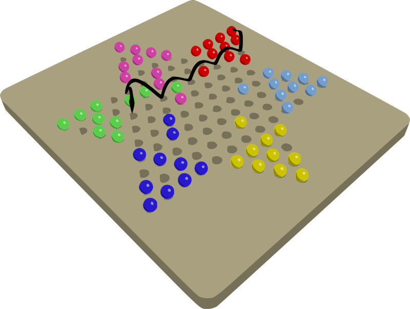 Chinese Checkers Game In Progress by mazeo - Perspective view of a Chinese checkers game in progress. An arrow indicates a potential ladder jump next move for the red player.