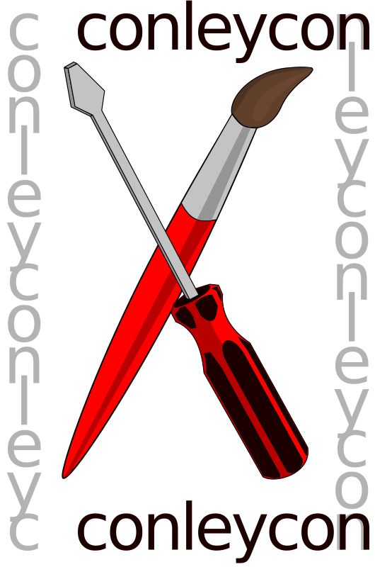 ConleyCon logo by dear_theophilus - The ConleyCon 2014 logo, a crossed paintbrush and screwdriver, representing open art and software/hardware.