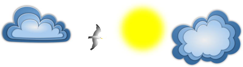 Seagull Banner Remix by Merlin2525 - A Seagull flying near the Sun, with 2 clouds in the sky. Licence: Public Domain.