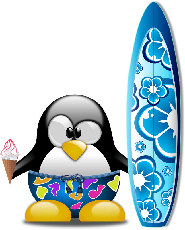 Tux the Surfer by Merlin2525 - Tux sporting a surfboard and eating a vanilla ice cream cone. Thanks go to the following Open Clip Art Artist: openclipart.org/people/Viscious-Speed/Surfboard.svg and openclipart.org/people/purzen/icecream_cone.svg. Licence: Public Domain