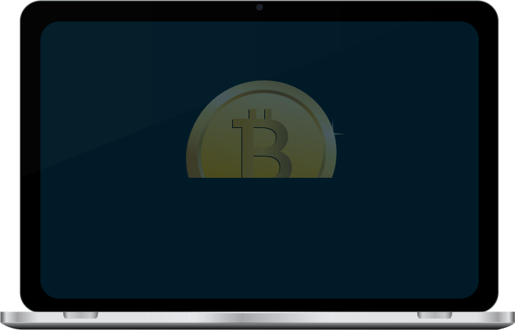 Bitcoin in laptop screen by casino