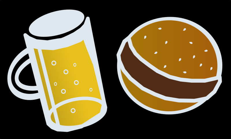 Beer and Hamburger by j4p4n - I know this isn't perfect but I thought I'd try to help out with a clipart version of the requested beer hamburger picture. This makes me hungry/thirsty! Where's my beer!?!
