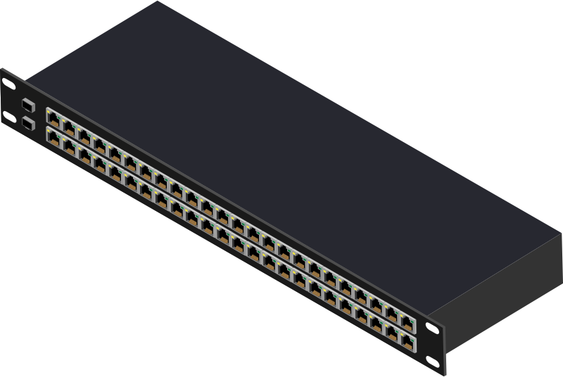 48 Port Switch by Enriq766 - I make all of these by hand from a High Quality Vector Image. These Items can be used in your layouts and designs. Part of a larger collection, I will be releasing these on openclipart and vecteezy for those of you wanting one you can edit. Please let me know if you think of any products that should be in the collection. vecteezy files will be uploaded at the same time. I have the same username on that site as well. Enjoy!