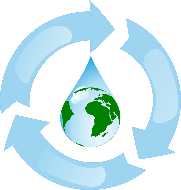 Water Recycling by Woofer - Water recycling symbol with the earth inside.