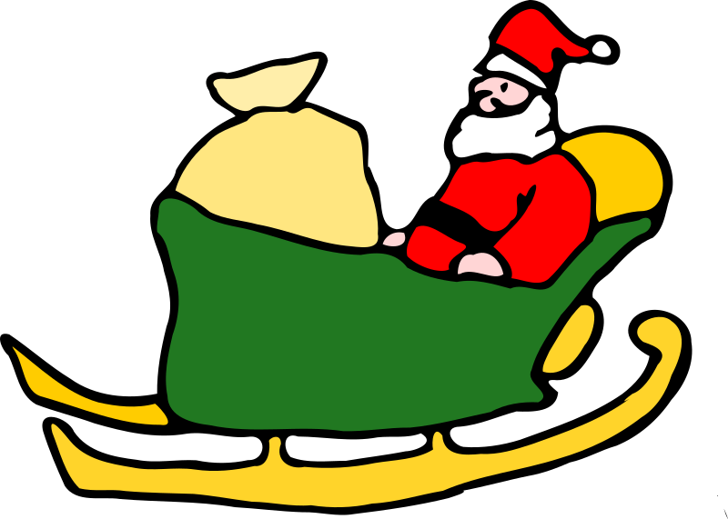 Santa in his sleigh by FEN - santa in a green sleigh with sack of ...