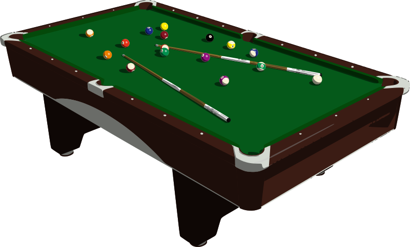 Pool Table by mazeo - A pool table with balls and cue sticks. Derived from http://www.blendswap.com/blends/view/67131