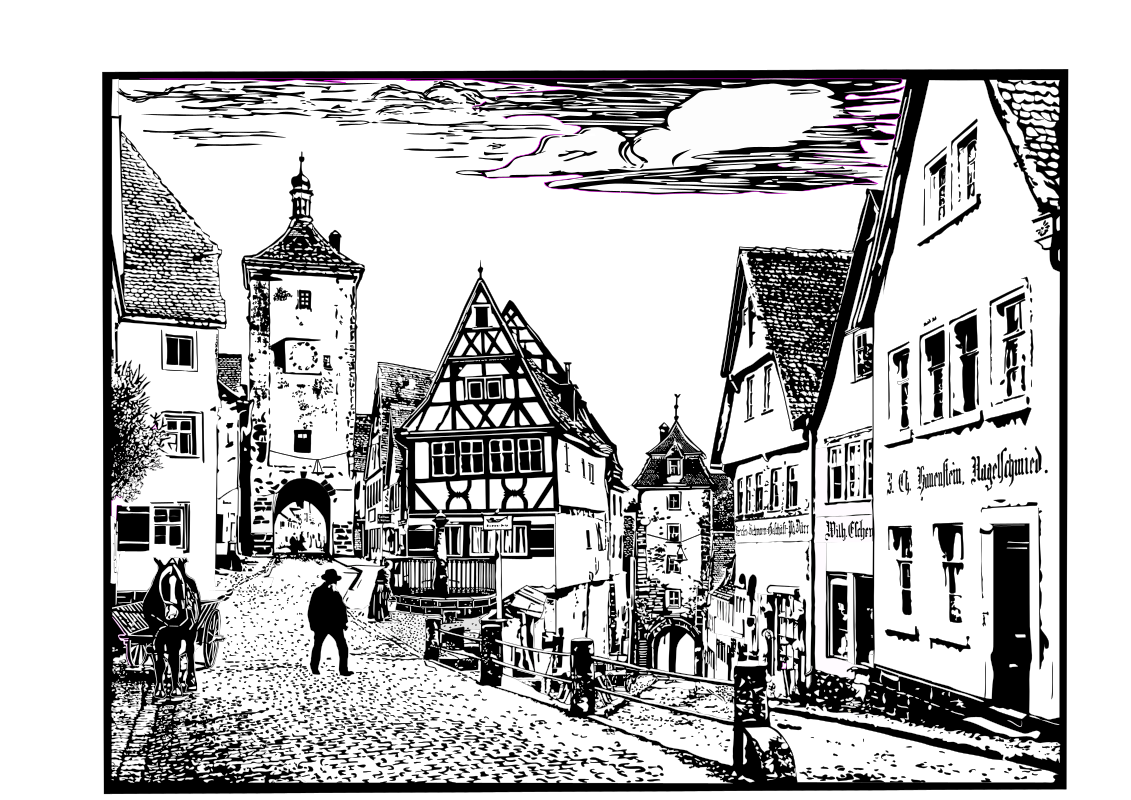 Cityscape of Rothenburg, Germany by Helm42 - This famous road fork in Rothenburg, Germany, is called Ploenlein.