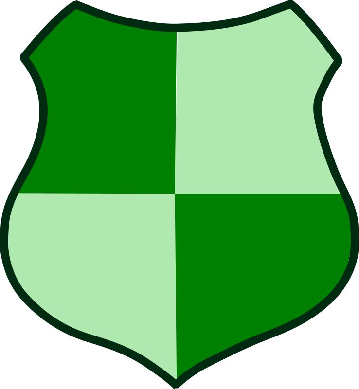 Green Shield by Woofer - A dark and light green shield.