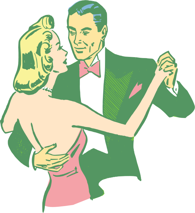 Dancing Couple Colorized by Simanek - I drew some intentionally crude shapes to colorize this vintage illustration for a project and thought I'd share.