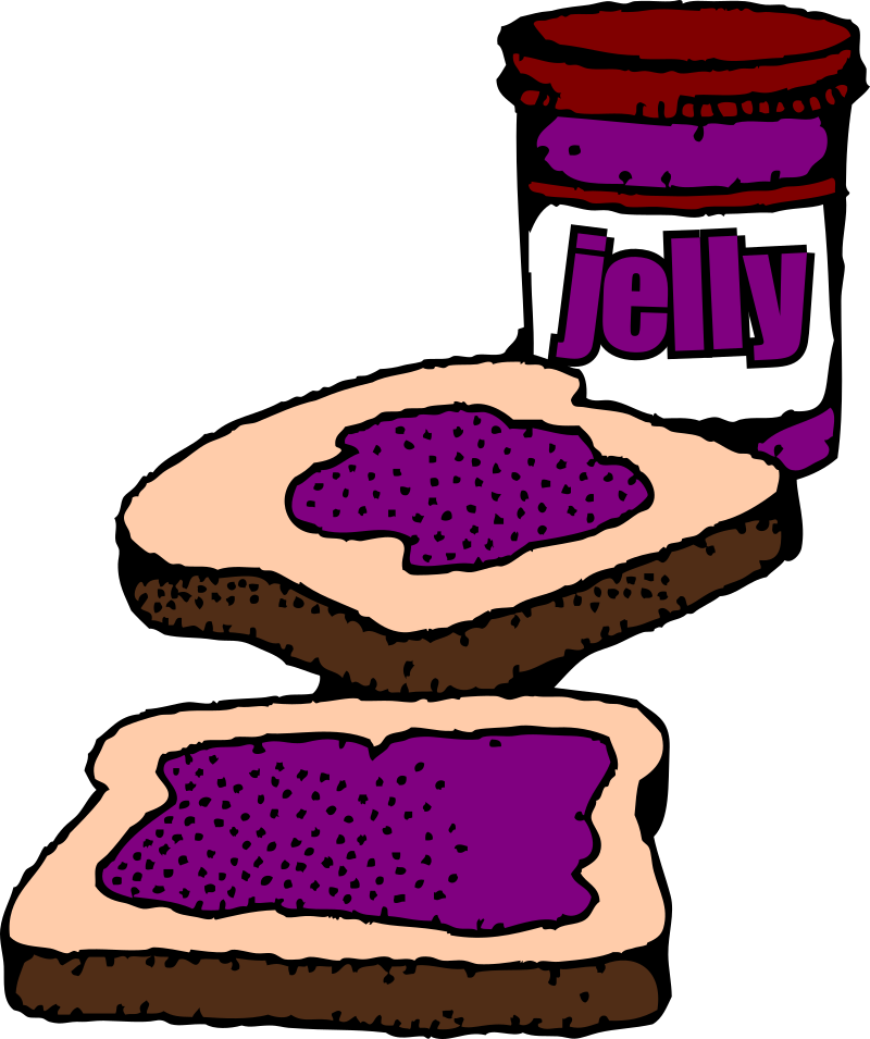 Colorized Peanut butter and jelly sandwich with label by snifty