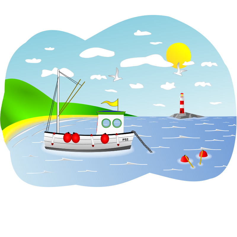 Coastal Fishing Boat Scene by Bonzo - I incorporated elements from other Openclipart artists in this scene. Can't remember who but cheers anyway!
