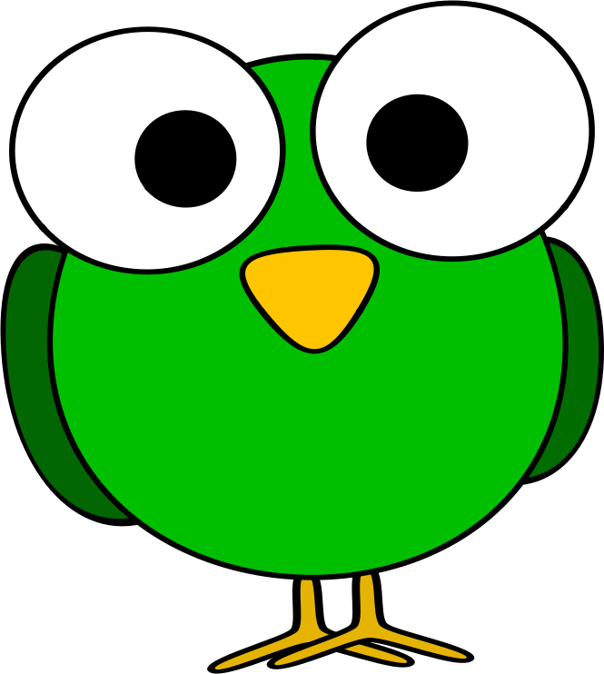 Green googly-eye bird by ruthirsty - A funny-looking green cartoon bird with big eyes.