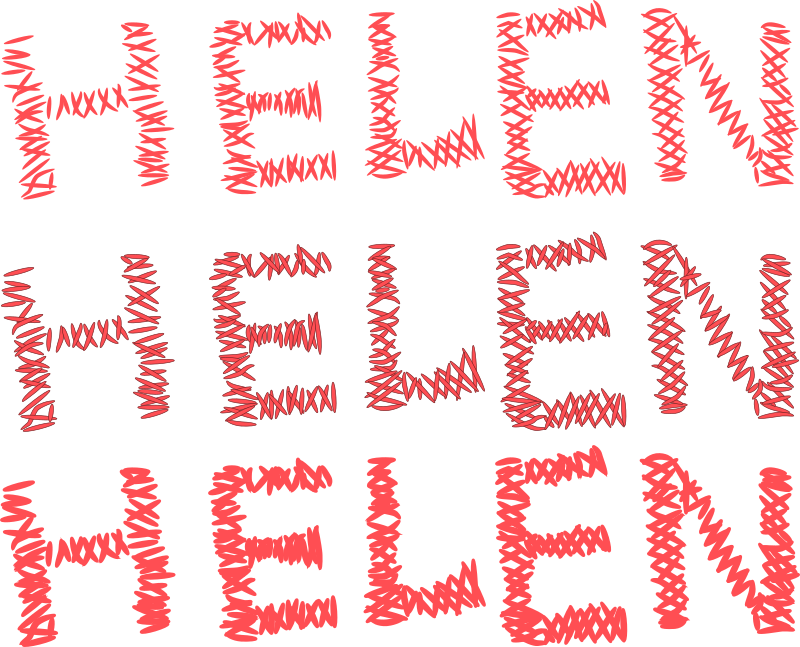 "Helen stitch remix by dear_theophilus - Filled request.  It would look cooler if the stitches had a gradient to them (darker on the ends, as they go ""into the cloth"")"
