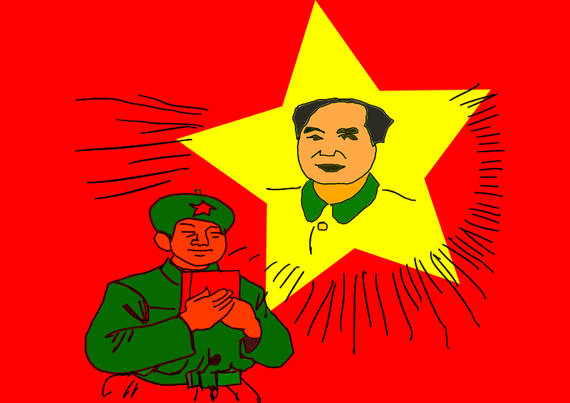 Mao and Me by johntynan - Some crazy bit of illustration that I did using an old Chinese propaganda pamphlet, a Wacom tablet, my laptop and Inkscape.