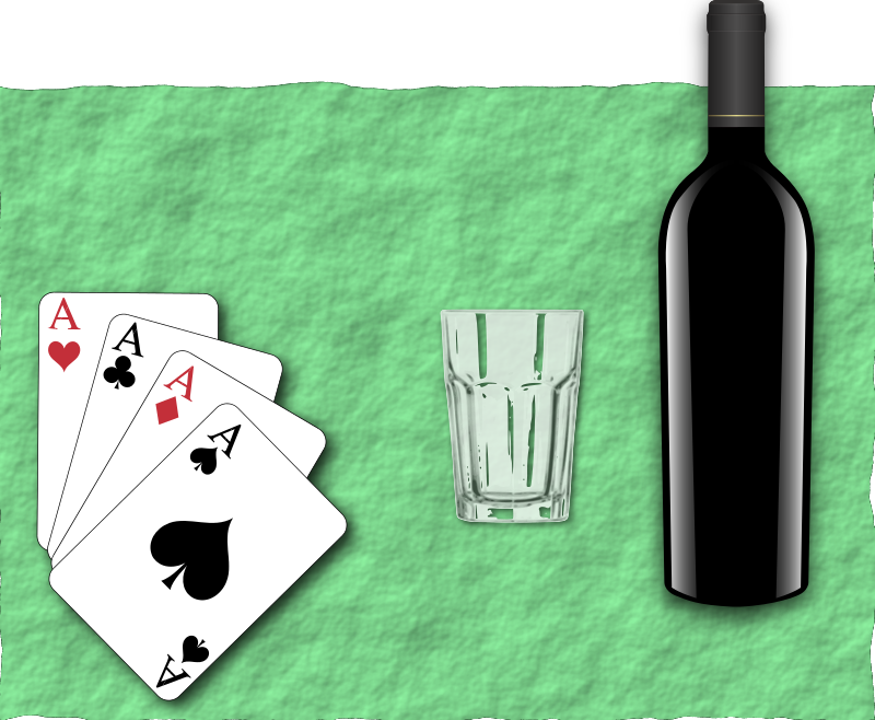 Poker Bottle by j4p4n - I think that user sergSB uploads some great clipart, but it is often monolingual and not so well suited to general use. (With this one, I imagined someone adding relevant text above and below the cards on the green back, or just using it how it is as a symbol of gambling...) So I hope s