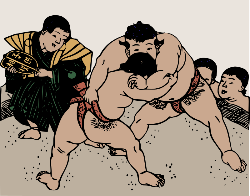 Old Sumo Wrestlers by j4p4n - I think I totally forgot to upload this one! I hand coloured this one myself awhile ago, from an old black and white depiction of sumo wrestling. I tried to give it simple muted colours, so it would seem at home in it's era. In this picture you can see the sumo referee (on the left) and two wrestlers, behind them the small crowd of other wrestlers appreciates the show.