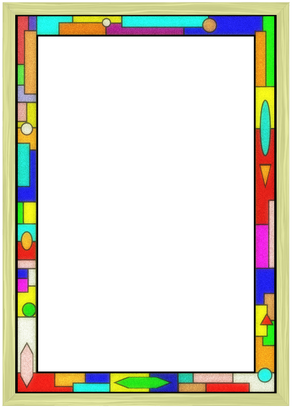Stained Glass Border 02 by Arvin61r58 - wood and stained glass frame/border