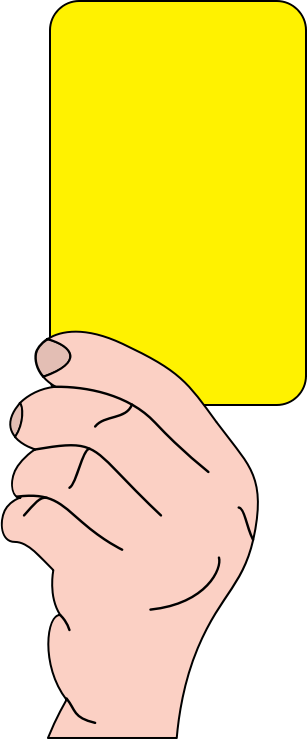 Referee showing yellow card by casino