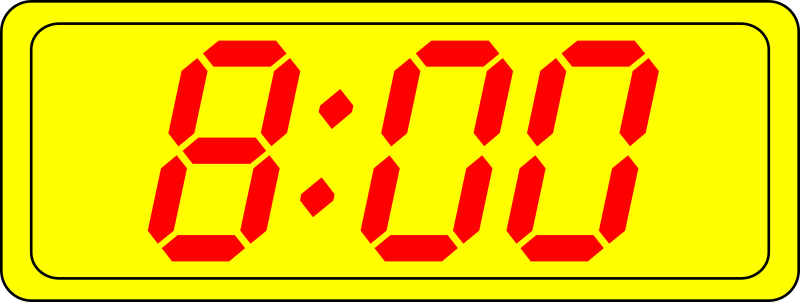 Digital Clock by manio1 - A collection of digital clocks showing every half hour. Suitable for educational purposes.