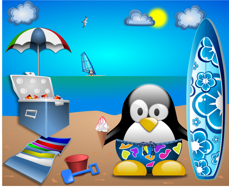 Tux_at_the_Beach_by_Merlin2525-remix-vacances by acotte - Remix from Tux_at_the_Beach_by_Merlin2525