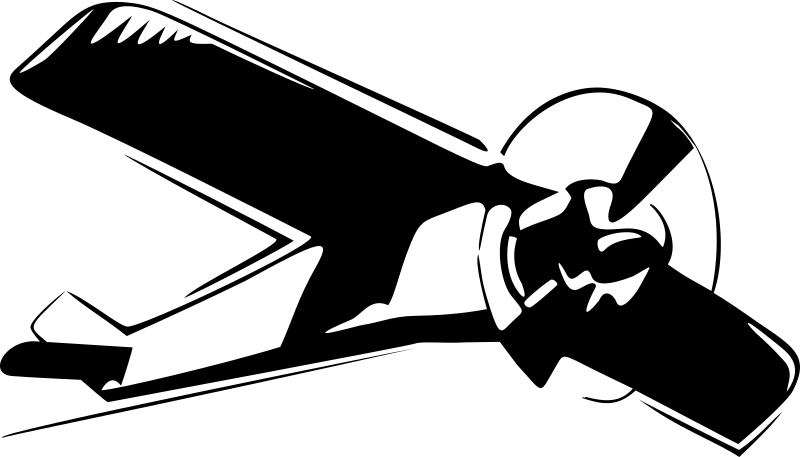 High Wing Airplane by wirelizard - A high wing monoplane in flight, stylized black & white only.
