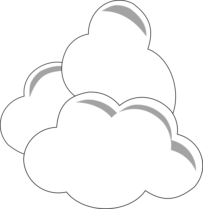 Simple Clouds by wirelizard - Simple greyscale clouds, symbolic or as an icon.