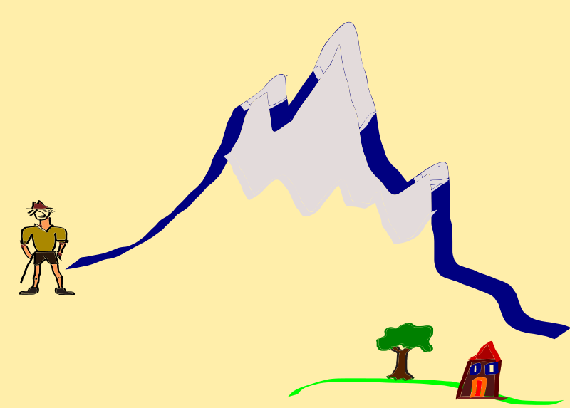 "challenge by yish - Man facing a mountain. Demonstrate the ""challenge"" element in narrative."