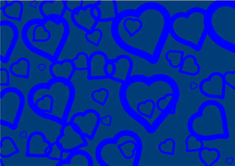 Blue Hearts by Prawny - Blue love heart wallpaper pattern.