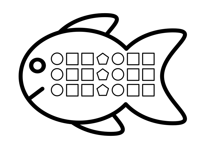 Shape Pattern Fish by Bibbleycheese - A fish with a repeating pattern of simple shapes. Designed for an infant maths activity