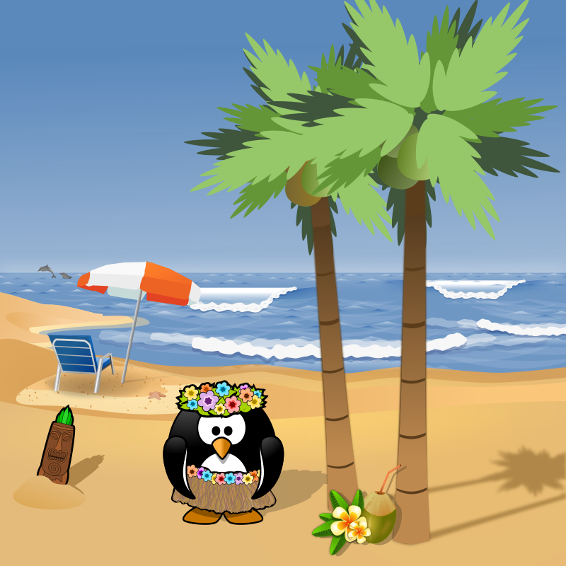 "July calendar page: Summer holiday by Moini - ""Penguins are going on a summer holiday, no more working for a week or two.... dab-dabeedee-dadabdoooooo....."" sings this little penguin, performing a hula dance on a perfect beach."