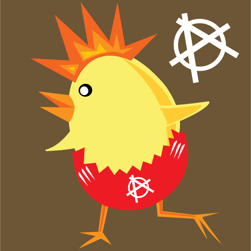punk rock chicken for easter by shokunin - Punk rock chick running around in a shell.