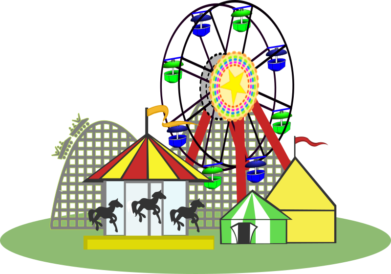 Carnival Color by snydergd - Carnival with roller coaster, merry-go ...