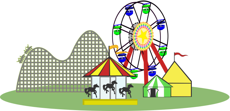Remix of Carnival Color -- Wide Version by snydergd - Carnival with roller coaster, merry-go-round, tents, and ferris wheel all sitting on grass.  Remixed with color for a colorful newsletter, and to be wider to fit a wider space better.